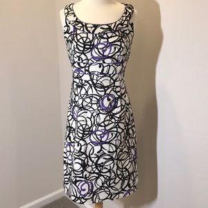 Sheri Martin Sleeveless Dress W/ Purple Piping